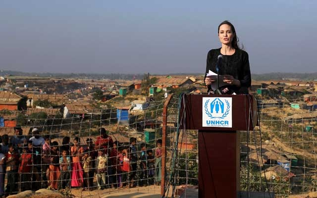 Actor Angelina Jolie joins in a press briefing as she visits Kutupalong refugee camp in Cox's Bazar, Bangladesh, Feb 5, 2018. REUTERS