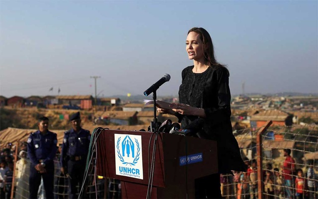 Actor Angelina Jolie joins in a press briefing as she visits Kutupalong Rohingya refugee camp in Cox's Bazar, Bangladesh, Feb 5, 2019.REUTERS