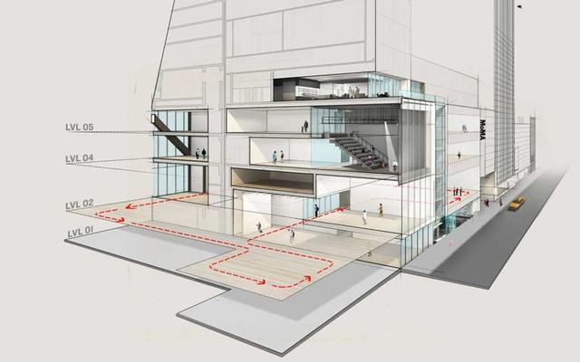 A north/south view of a rendering of MoMA looking east along Fifty-Third Street. The second-, fourth- and fifth-floor galleries will continue to form the chronological spine of exhibitions, but in expanded form. The red line on the second floor traces the expansion into the former Folk Art Museum and the Jean Nouvel building. The fourth and fifth floors contain the Studio. The second floor houses the Daylit Gallery. At street level are a gallery and the Projects Room. The New York Times