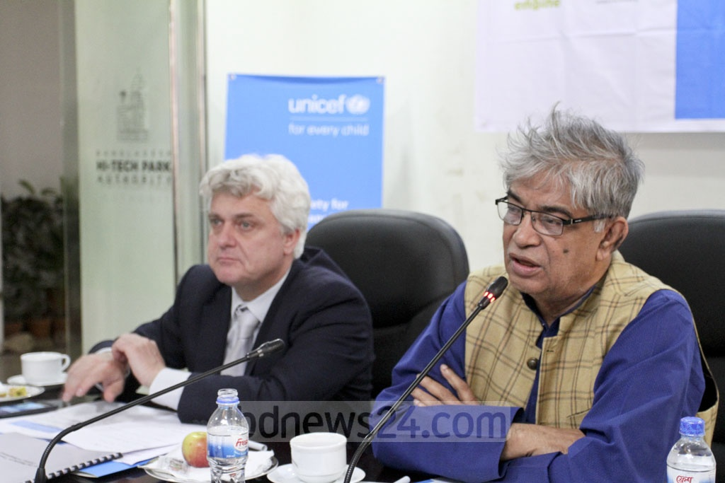 Post, Telecommunication and IT Minister Mustafa Jabbar speaking at a Safer Internet Day programme organised by UNICEF at the Software Technology Park in Dhaka's Karwan Bazar on Tuesday. Photo: Asif Mahmud Ove