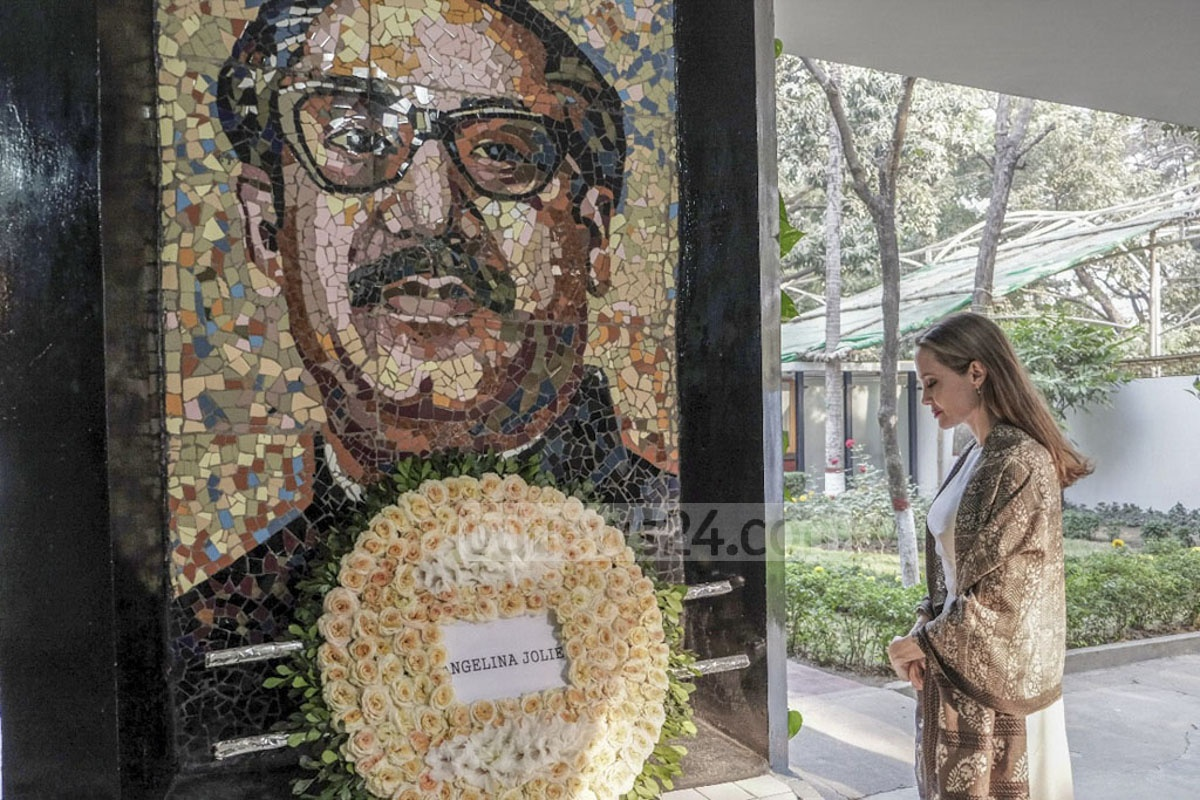 Hollywood star Angelina Jolie paying respect to Bangladesh's founding father at the Bangabandhu Memorial Museum in Dhaka on Wednesday.