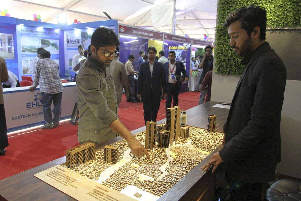 Visitors check out stalls at the REHAB fair 2019 being held at Dhaka's Bangabandhu International Conference Centre. Photo: Asif Mahmud Ove