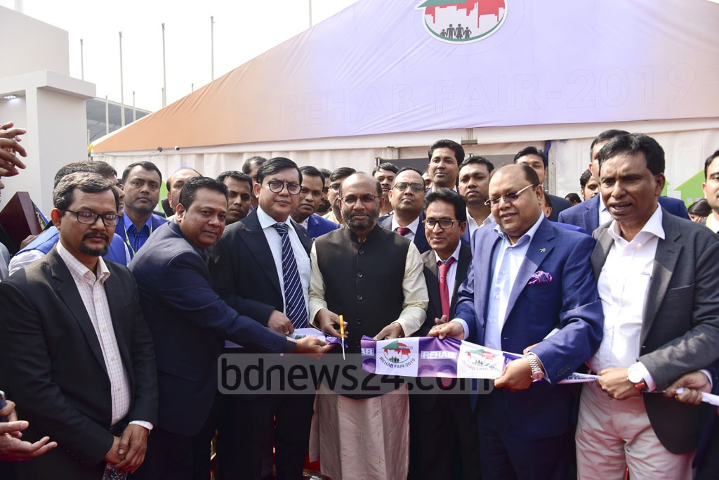 Housing and Public Works Minister SM Rezaul Karim inaugurates the REHAB fair 2019 at Dhaka's Bangabandhu International Conference Centre on Wednesday. Photo: Asif Mahmud Ove