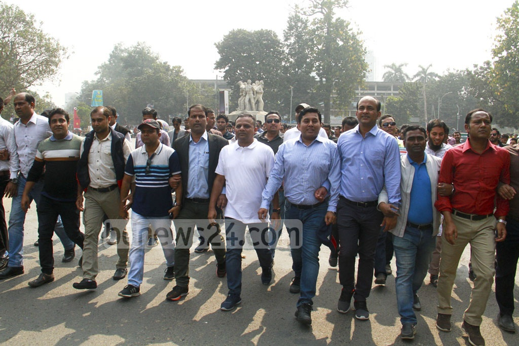 Jatiyatabadi Chhatra Dal leaders and activists marching on the Dhaka University campus to submit a memorandum with different demands to the vice-chancellor on Thursday morning ahead of the elections to the central students' union of the university or DUCSU.