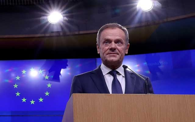 EU Council President Donald Tusk gives a statement after a meeting with Irish Prime Minister Leo Varadkar at the European Council headquarters in Brussels, Belgium February 6, 2019. Reuters