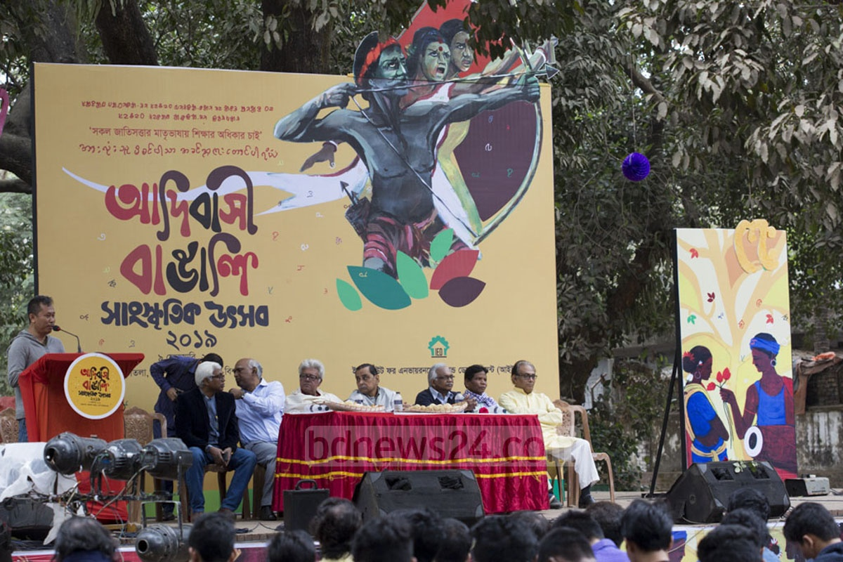 Guests attend the Indigenous Bengali Cultural Festival at Dhaka University's Fine Arts Institute on Saturday. The programme was organised by the Institute for Environment and Development.