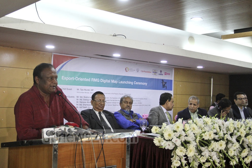 Commerce Minister Tipu Munshi at the launch of 'Mapped in Bangladesh', a digital map containing information on export-oriented ready-made garment factories throughout Dhaka. Photo: Asif Mahmud Ove