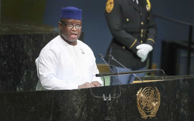 FILE Photo: Julius Maada Bio, president of Sierra Leone, speaks at the 73rd United Nations General Assembly at the United Nations headquarters in New York, Sept 27, 2018. Amid growing outrage over the rape of a 5-year-old girl, the president of Sierra Leone declared sexual violence a national emergency, vowing that sex with minors would be punishable by life in prison. Chang W Lee/The New York Times