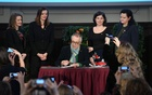 Film Festival director Dieter Kosslick signs gender equality pledge on behalf of the Berlinale at the 69th Berlinale International Film Festival in Berlin, Germany, Feb 9, 2019. REUTERS