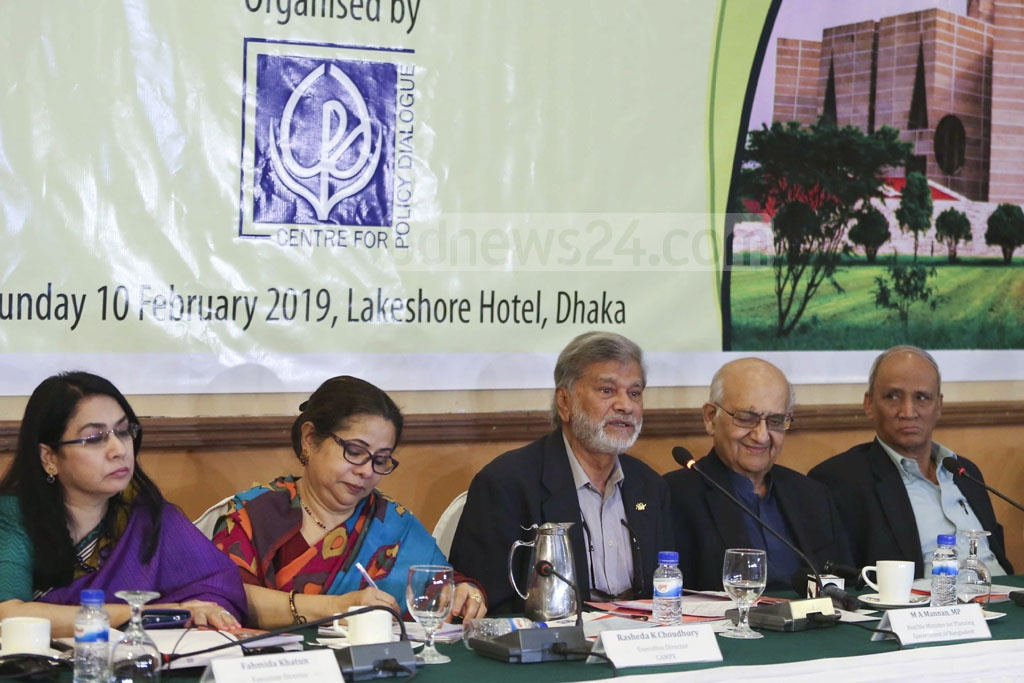 Planning Minister MA Mannan speaking at a CPD dialogue on priorities for the new government in pursuing inclusive growth at a Dhaka hotel on Sunday.