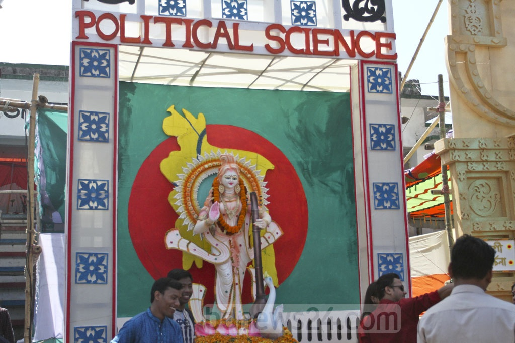 A Saraswati Puja altar is set up on Dhaka University's Jagannath Hall field. Photo: Asif Mahmud Ove