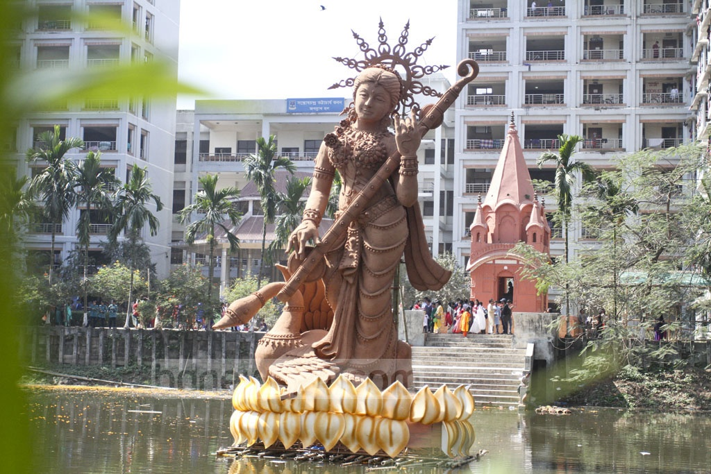 A statue of Saraswati, the Hindu goddess of education, is displayed at a pond at Dhaka University's Jagannath Hall. Photo: Asif Mahmud Ove
