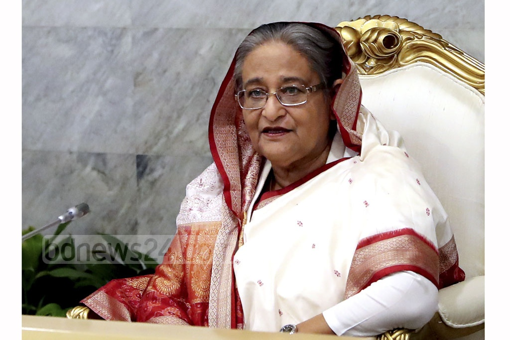 Prime Minister Sheikh Hasina presiding over Monday's cabinet meeting at her office in Dhaka. Photo: Saiful Islam Kallol