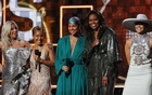 Lady Gaga, Jennifer Lopez, Alicia Keys, former first lady Michelle Obama and Jada Pinkett Smith. 61st Grammy Awards - Show - Los Angeles, California, US, February 10, 2019. Reuters