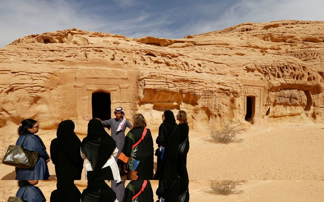 Visitors tour at majestic rock-hewn tombs of Madain Saleh near the city al-Ula, Saudi Arabia January 25, 2019. Reuters