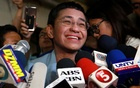 Maria Ressa, the CEO of online news platform Rappler, speaks to the media after posting bail at a Manila Regional Trial Court in Manila City, Philippines, Feb 14, 2019. REUTERS