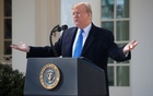 US President Donald Trump declares a national emergency at the US-Mexico border while speaking about border security in the Rose Garden of the White House in Washington, US, February 15, 2019. Reuters