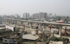 Construction work on the metro rail project is underway in Uttara's Diabari area. Photo: Asif Mahmud Ove