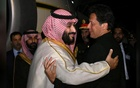 Pakistani Prime Minister Imran Khan (R) greets Saudi Arabia's Crown Prince Mohammed bin Salman on his arrival at Pakistan Air Force (PAF) Nur Khan Base in Rawalpindi, Pakistan Feb 17, 2019. REUTERS