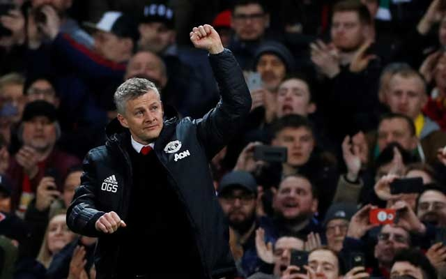 Champions League Round of 16 First Leg - Manchester United v Paris St Germain - Old Trafford, Manchester, Britain - Feb 12, 2019 Manchester United interim manager Ole Gunnar Solskjaer gestures before the match REUTERS/Phil Noble