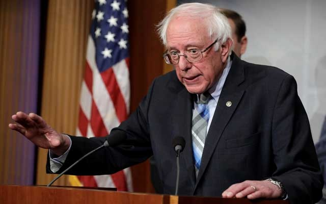 US Senator Bernie Sanders speaks during a news conference on Yemen resolution on Capitol Hill in Washington, US, January 30, 2019. Reuters