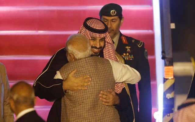 Saudi Arabia's Crown Prince Mohammed bin Salman hugs India's Prime Minister Narendra Modi upon his arrival at an airport in New Delhi, India, February 19, 2019. Reuters