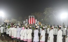 Students march to Dhaka's Central Shaheed Minar to honour the martyrs of the 1952 Language Movement in the early hours of International Mother Language Day. Photo: Asif Mahmud Ove