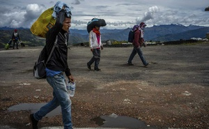 Venezuelan migrants walking from the border town of Cúcuta, Colombia to the large city of Bucaramanga, a route that includes a 12,000-foot mountain pass, Sept 11, 2018. The New York Times