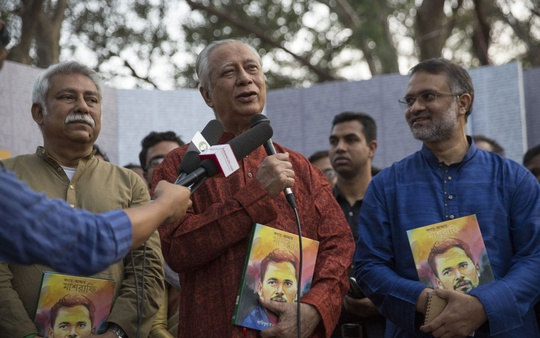 Attorney General Mahbubey Alam speaking at the launch of a book titled 'Kathae-Addae Mashrafe' by bdnews24.com Chief Cricket Correspondent Ariful Islam Roney at the Amar Ekushey Book Fair in Dhaka on Friday.