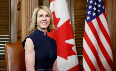 FILE PHOTO: US Ambassador to Canada Kelly Craft takes part in a meeting with Canada's Prime Minister Justin Trudeau in Trudeau's office on Parliament Hill in Ottawa, Ontario, Canada, Nov 3, 2017. REUTERS/Chris Wattie/File Photo
