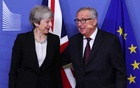 File Photo: European Commission President Jean-Claude Juncker meets with British Prime Minister Theresa May at the European Commission headquarters in Brussels, Belgium Feb 20, 2019. REUTERS/Yves Herman