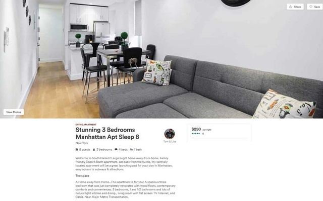 An undated handout screenshot of the Airbnb listing for an apartment at 78 East 119th St, in East Harlem. Multiple misleading identities, more than 100 host accounts and 18 corporations were created to run an illegal hotel business in Manhattan, according to a lawsuit filed by the city. Handout via The New York Times