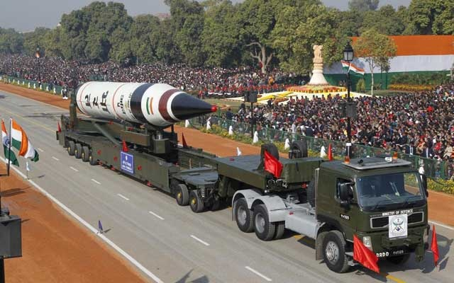 A surface-to-surface nuclear capable Agni V missile is displayed during the Republic Day parade in New Delhi, India, in this January 26, 2013 file photo. Reuters