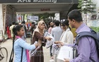 Supporters of several panels and independent candidates distributing leaflets in front of Arts Building of Dhaka University ahead of the DUCSU polls, which is five days away. Photo: Asif Mahmud Ove