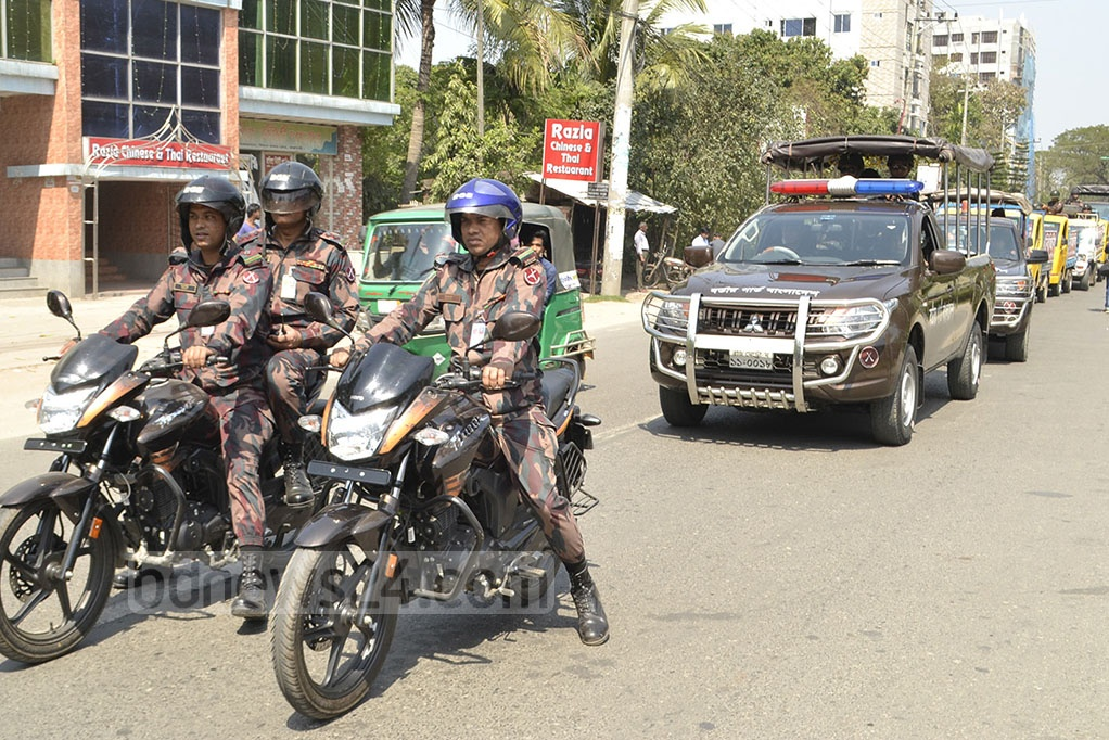 The upazila parishad elections are to be conducted in five stages, starting Mar 10 with polls in 87 upazilas. BGB personnel were deployed in Rajshahi on Saturday to maintain order.