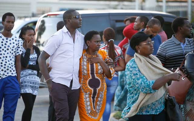 Relatives leave the information centre following the Ethiopian Airlines Flight ET 302 plane crash, at the Jomo Kenyatta International Airport (JKIA) in Nairobi, Kenya March 10, 2019. REUTERS/Baz Ratner