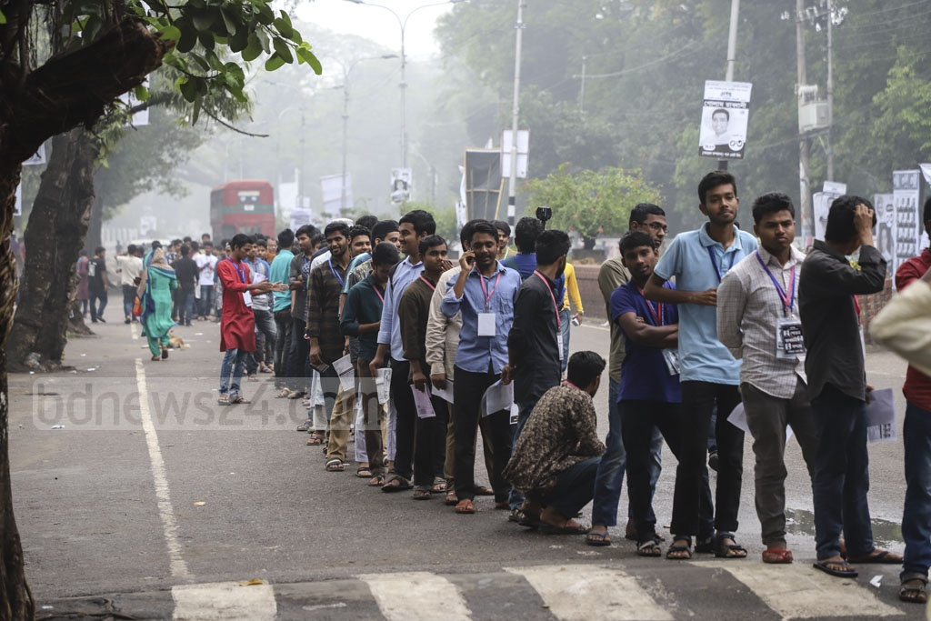 Over 43,000 students will be able to vote for the Dhaka University Central Students Union (DUCSU) and hall council posts after a 28 year gap. Long lines of voters were seen in front of the polling centres at Dhaka University long before they opened at 8 am. Photo: Abdullah Al Momin