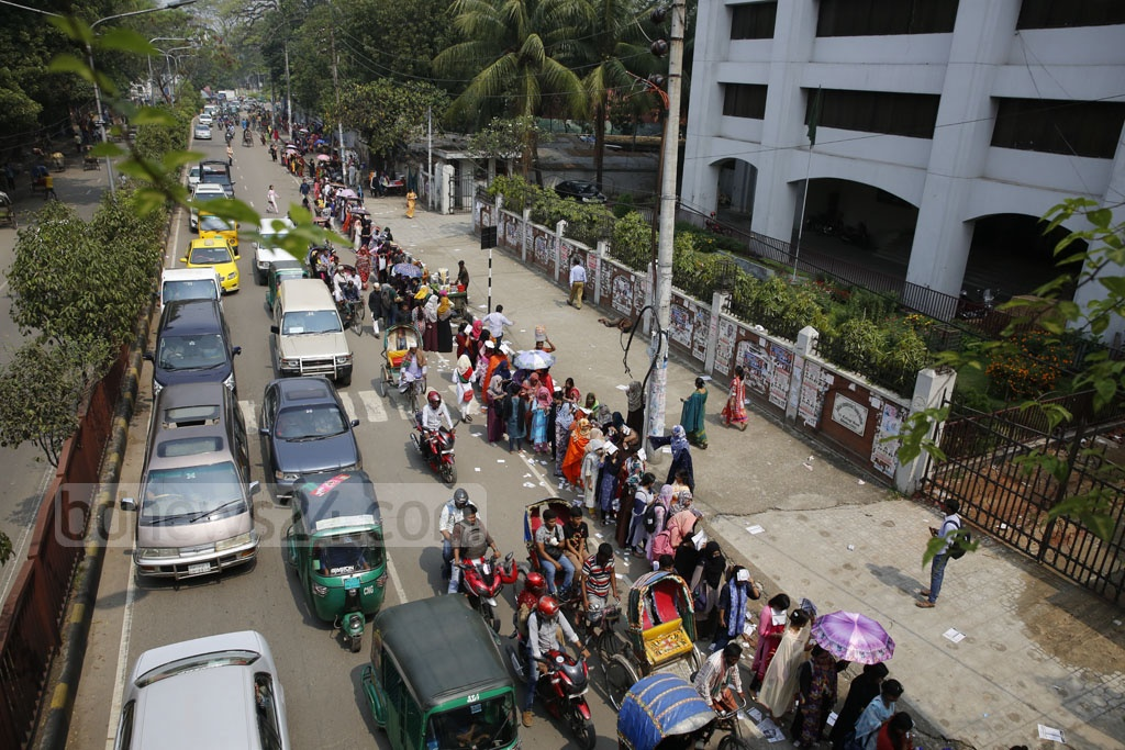 Students of Kabi Sufia Kamal Hall wait to cast their ballots in the DUCSU polls. Photo: Mostafigur Rahman