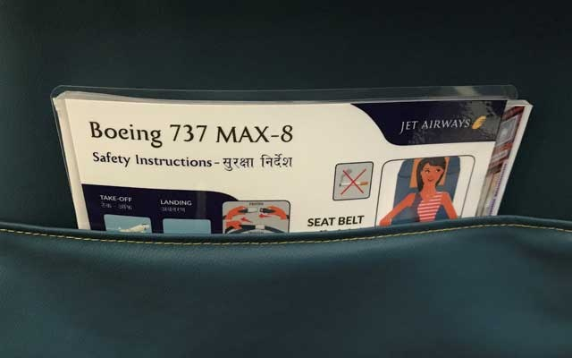 A passenger safety instruction card of Jet Airways Boeing 737 MAX 8 plane is pictured during its induction ceremony at the Chhatrapati Shivaji International airport in Mumbai, India, June 28, 2018. Reuters