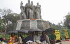 Six students of Dhaka University continued their hunger strike at the altar of Raju Memorial Sculpture for the second day on Wednesday for fresh DUCSU elections and resignation of those involved in the polls marred by allegations of rigging and other irregularities. Photo: Mahmud Zaman Ovi