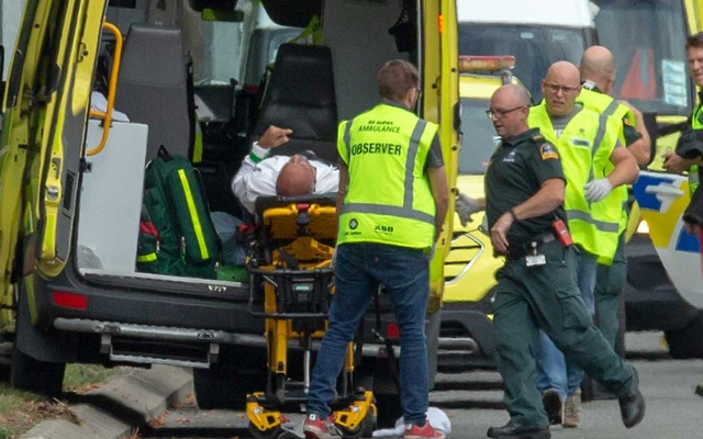 An injured person is loaded into an ambulance following a shooting at the Al Noor mosque in Christchurch, New Zealand, Mar 15, 2019. REUTERS