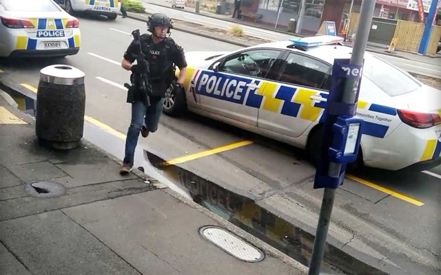 File photo: A police officer responds following shooting at Linwood in Christchurch, New Zealand, Mar 15, 2019, in this still image obtained from a social media video. REUTERS