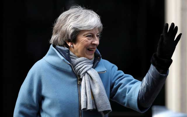 Britain's Prime Minister Theresa May is seen outside Downing Street in London, Britain March 14, 2019. Reuters