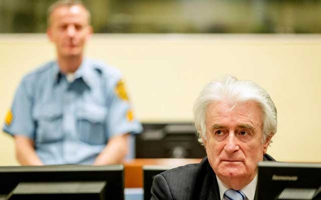 FILE PHOTO: Ex-Bosnian Serb leader Radovan Karadzic sits in the court of the International Criminal Tribunal for former Yugoslavia (ICTY) in The Hague, the Netherlands Mar 24, 2016. REUTERS/Robin van Lonkhuijsen/Pool/File Photo