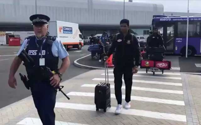 Members of the Bangladesh cricket team arrive to depart for Bangladesh from Christchurch International Airport in New Zealand Mar 16, 2019, in this still image from video obtained from social media. Bangladesh Cricket Board/via REUTERS