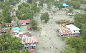 A general view shows the aftermath of a flood in Sentani, Papua province, Indonesia Mar 17, 2019, in this still image from a video obtained from social media. Edward Hehareuw/via REUTERS