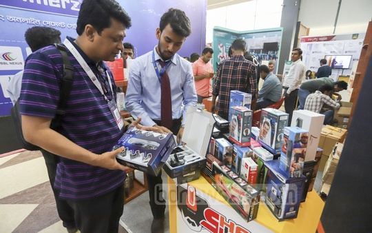 The three-day 15th BASIS SoftExpo 2019 with the slogan 'Technology for Prosperity' began at the International Convention City Bashundhara in Dhaka on Tuesday to exhibit Bangladesh's capability in the IT sector. Photo: Asif Mahmud Ove