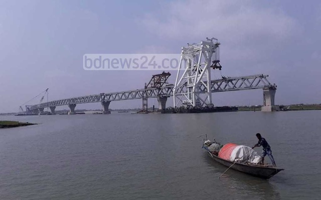 Eighth span on Padma Bridge installed at Zajira point