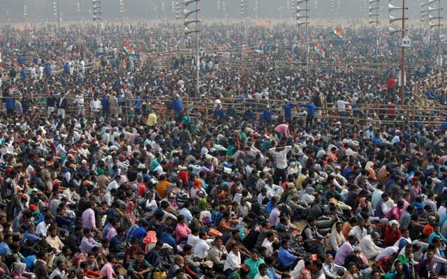 FILE PHOTO: Supporters listen to speakers during