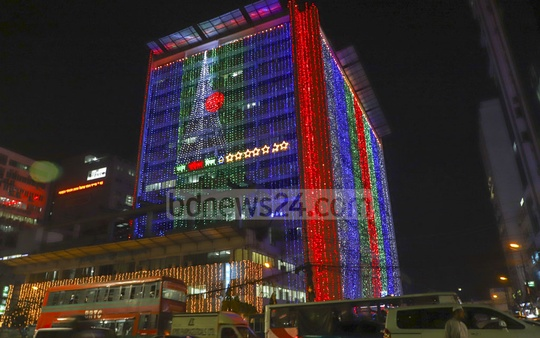 Government and private buildings in Dhaka have been adorned with decorative lighting on the occasion of Mar 26 Independence Day. Photo: Abdullah Al Momin